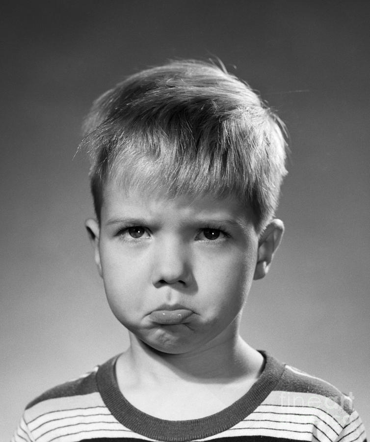 Pouting Boy C1950s Photograph By Debrocke ClassicStock