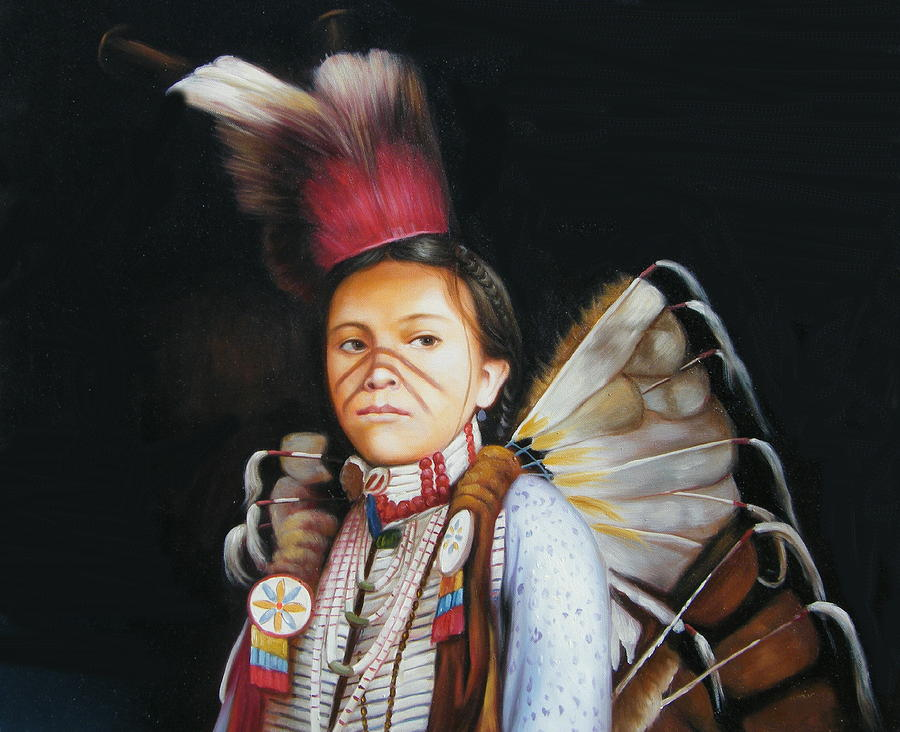 Native Painting - Pow Wow Dancer by Anthony Dreamrider