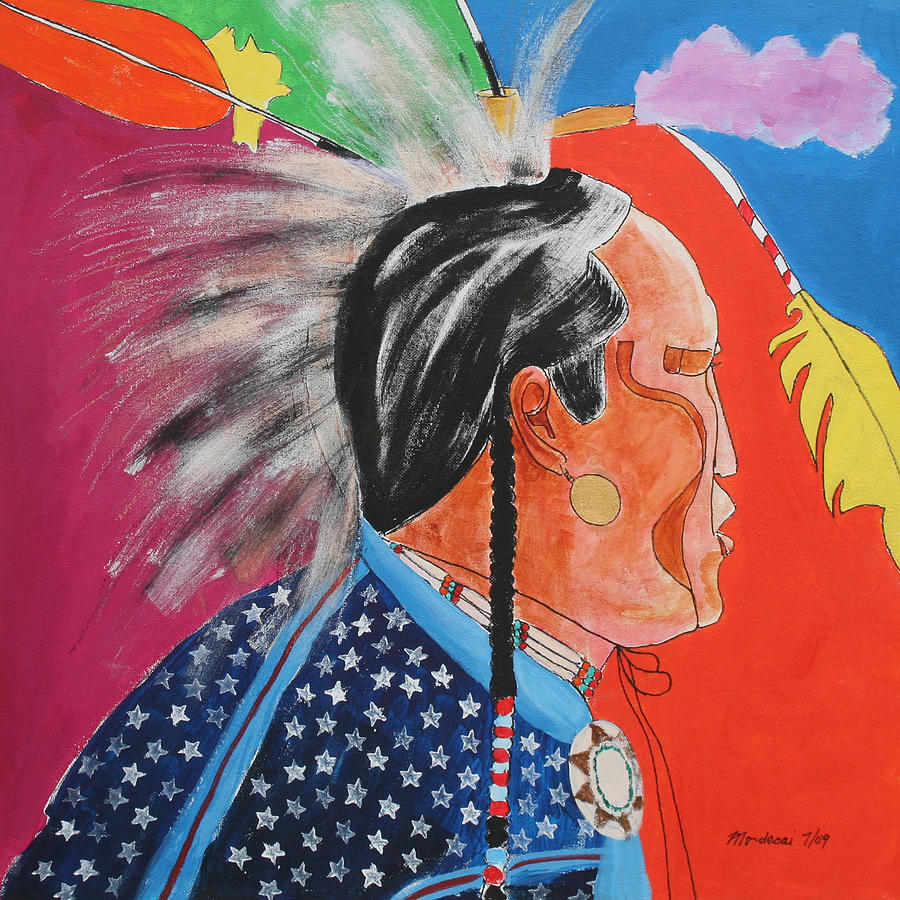Native American Painting - Pow Wow by Mordecai Colodner