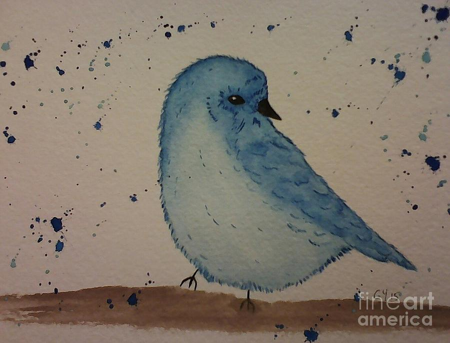 Blue Bird Painting - Powder Blue by Ginny Youngblood