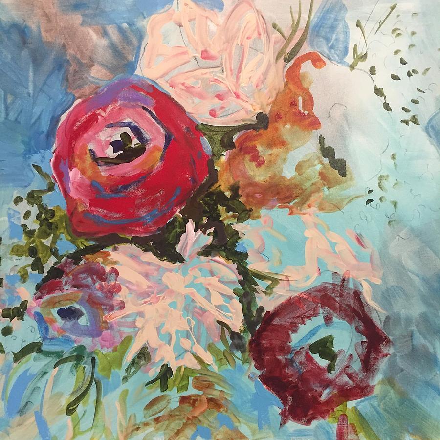 Roses Painting - Powder Blue Roses by Karen Ahuja