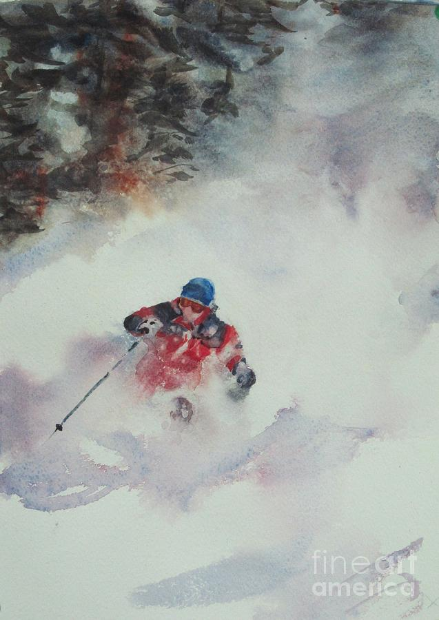 Skiing Painting - Powder by Elizabeth Carr