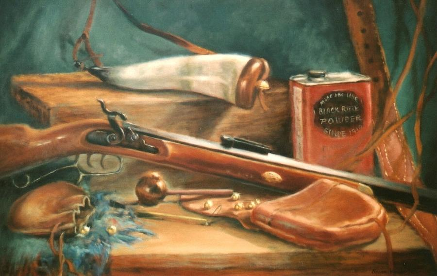 Gun Painting - Powder Horn by Sharon Weaver