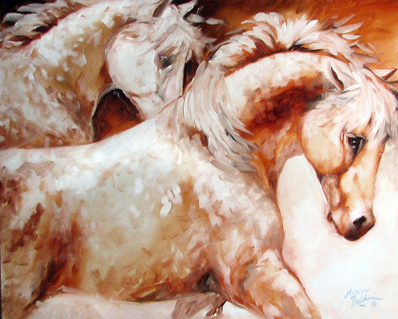 Horse Painting - Power By Two Equine Original by Marcia Baldwin