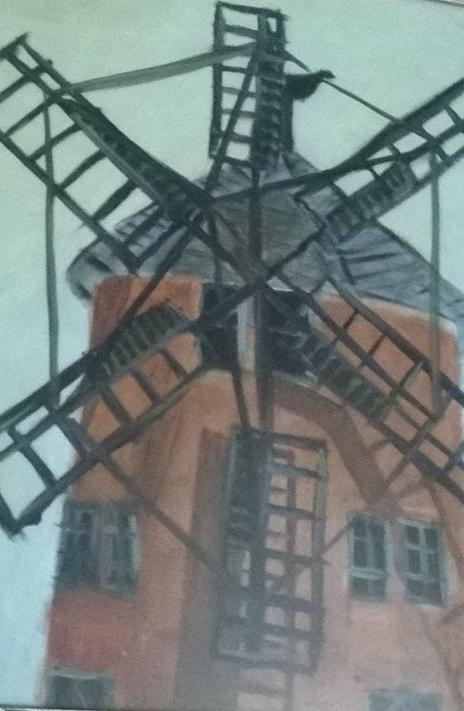 Wind Mill Painting - Power from the unseen by Ramya Sundararajan