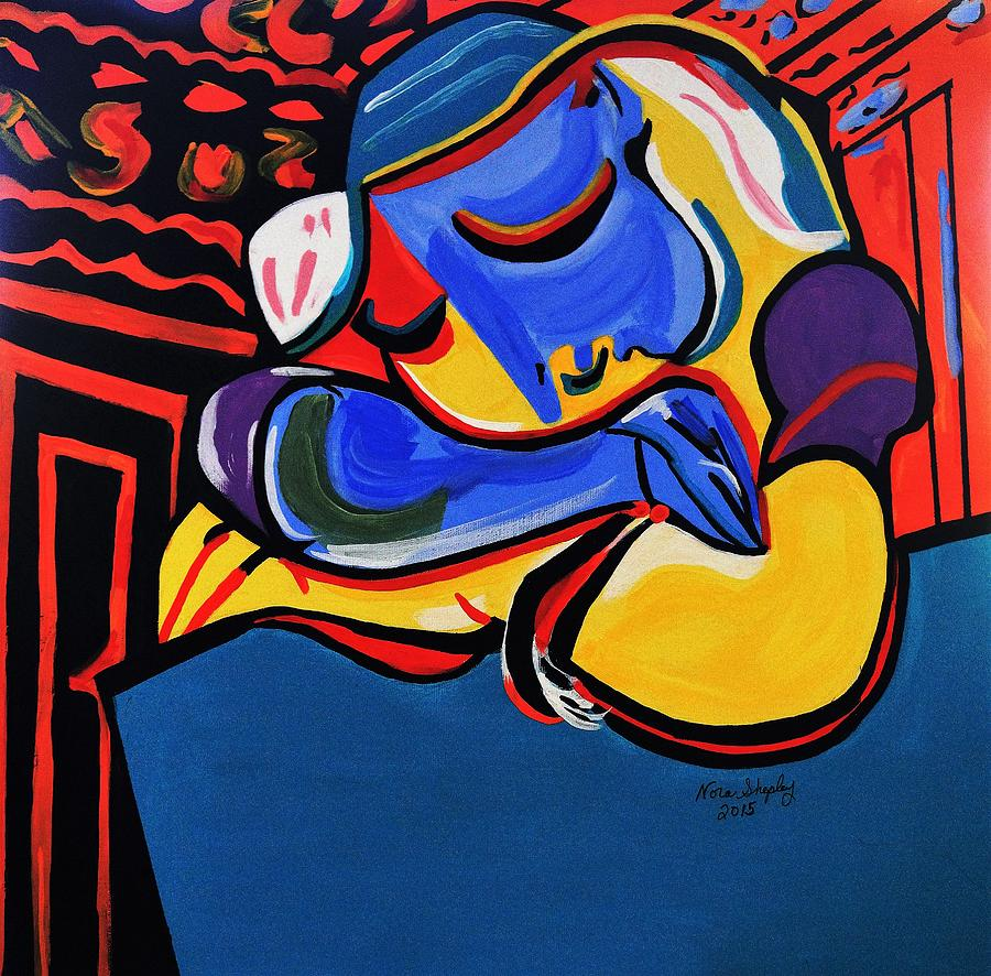 Acrylic Paint Painting - Power Nap  Picasso By Nora by Nora Shepley
