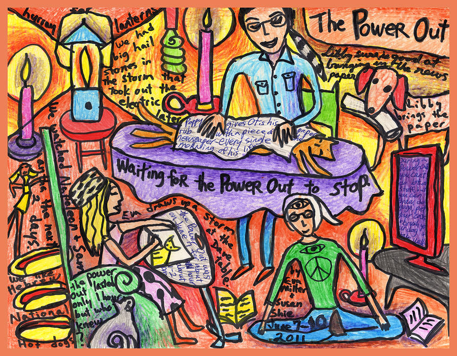 Family Drawing - Power Out A Collaboration With Eva Miller by Susan  Shie