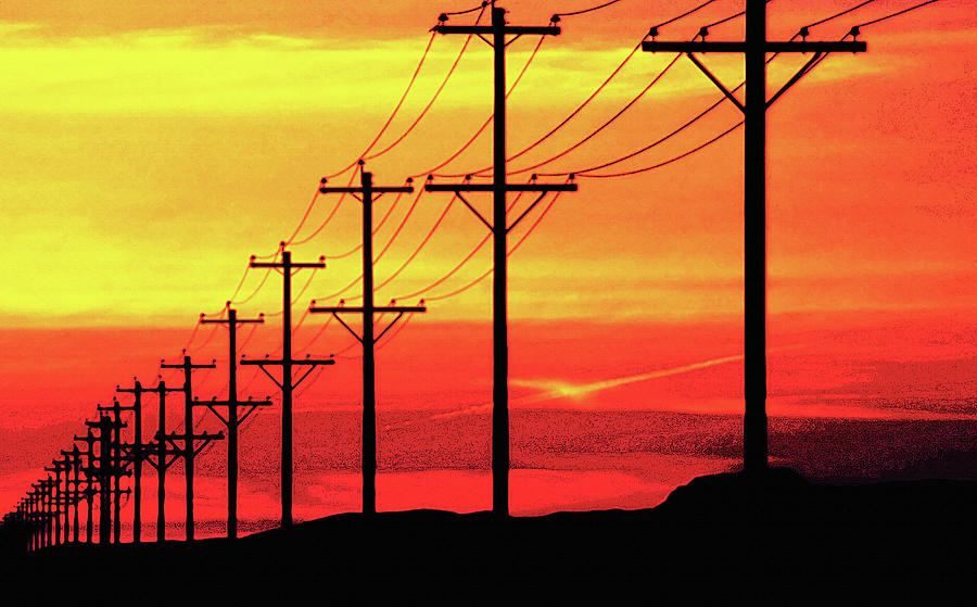 Power Poles And Lines Into Distance 2