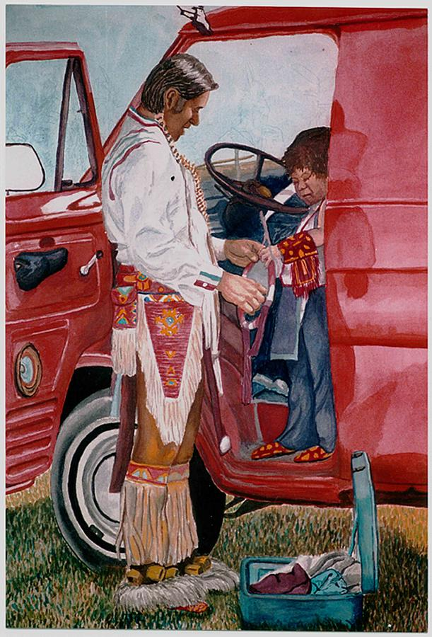 Native American Painting - Powwow Family by Sam Vega