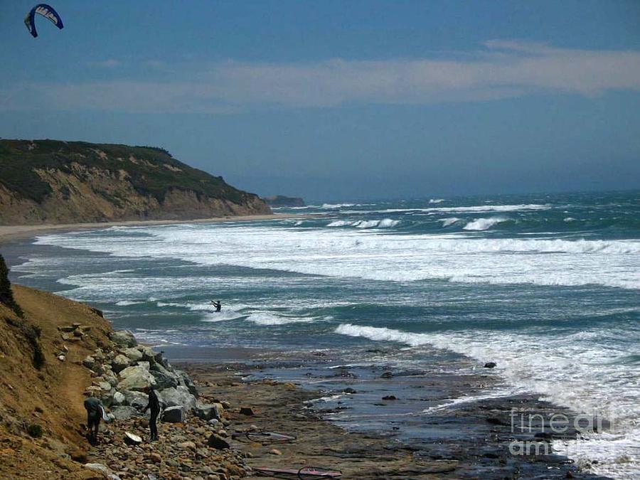 Seascape Photograph - pr 121 - Lone Windsurfer by Chris Berry