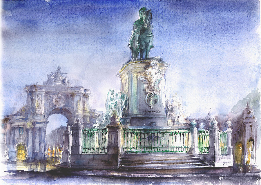 Watercolor Painting - Praca do Comercio - Commerce Square Lisbon by Elena Petrova Gancheva