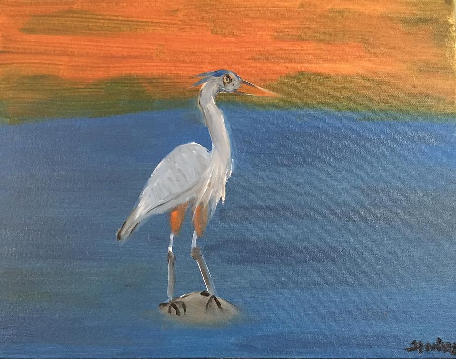 Heron Painting - Practising patience by Ramya Sundararajan