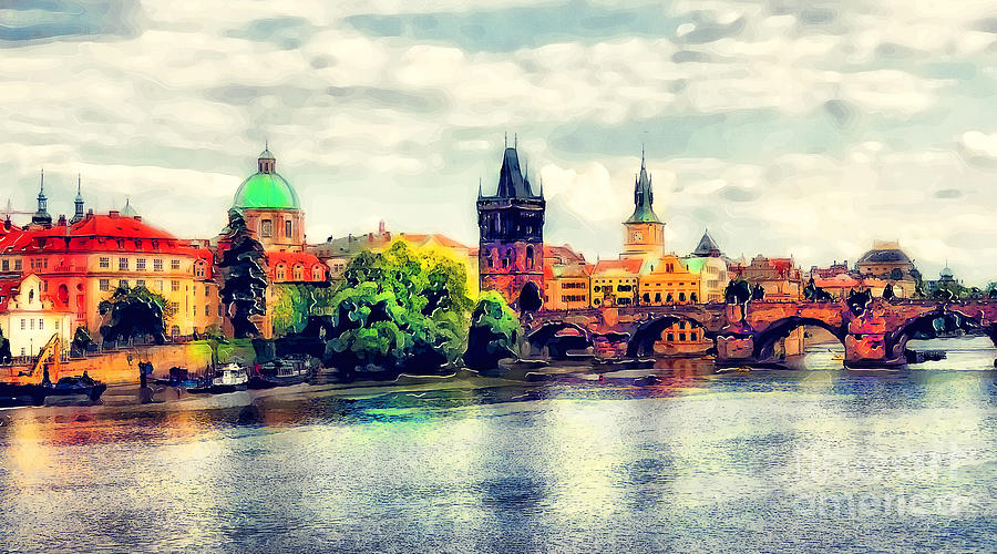 Prague Painting - Prague bridge watercolor by Justyna Jaszke JBJart