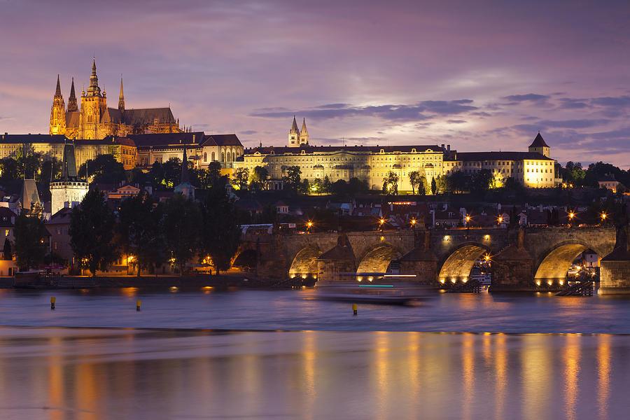 Architecture Photograph - Prague Castle And Charles Bridge by Andre Goncalves
