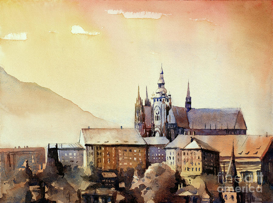 Prague Castle At Sunset- Czech Republic Painting by Ryan Fox