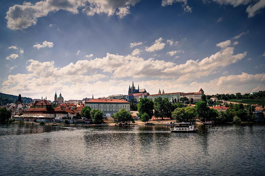 Prague Castle Photograph - Prague Castle - polaroid effect by Peggy Berger