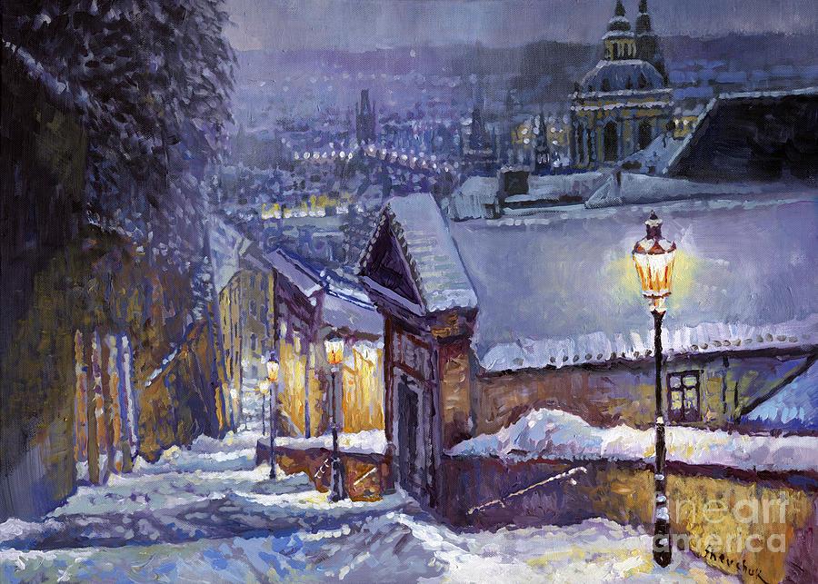 Oil Painting - Prague Castle Steps Winter   by Yuriy Shevchuk