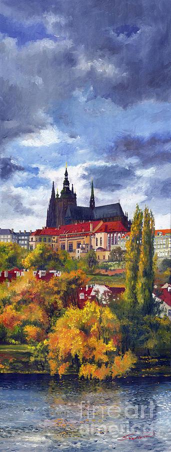Prague Painting - Prague Castle With The Vltava River by Yuriy  Shevchuk