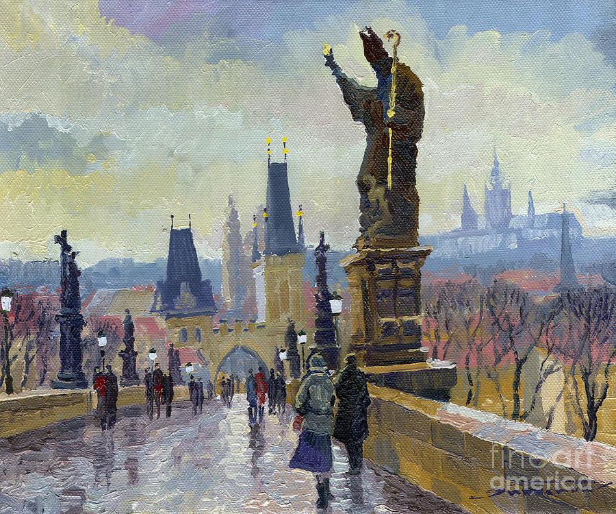 Oil On Canvas Painting - Prague Charles Bridge 04 by Yuriy  Shevchuk