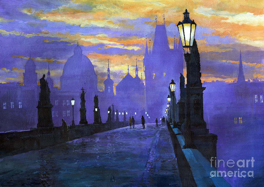 Prague charles bridge sunrise painting by yuriy shevchuk Fine art america