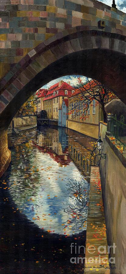 Oil Painting - Prague Chertovka 3 by Yuriy  Shevchuk