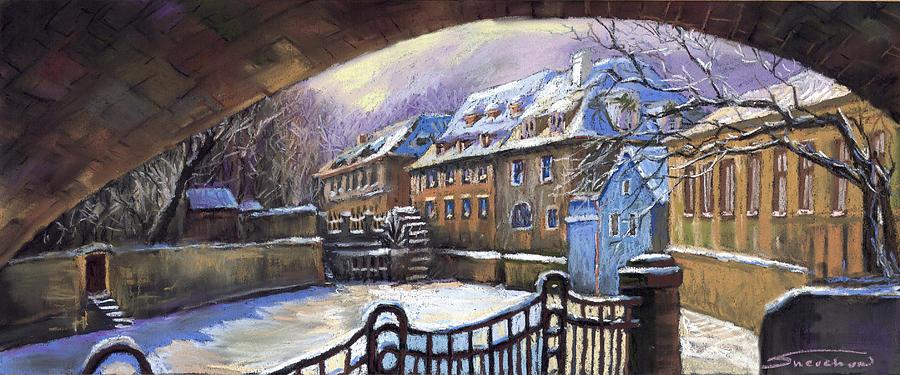 Pastel Painting - Prague Chertovka Winter 01 by Yuriy  Shevchuk