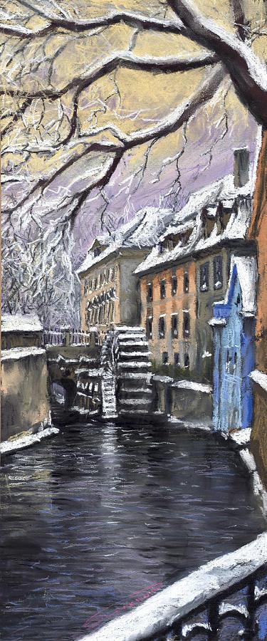 Pastel Painting - Prague Chertovka Winter by Yuriy  Shevchuk