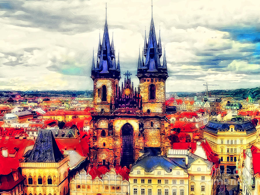 Prague Painting - Prague Church Of Our Lady Before Tyn Watercolor by Justyna Jaszke JBJart