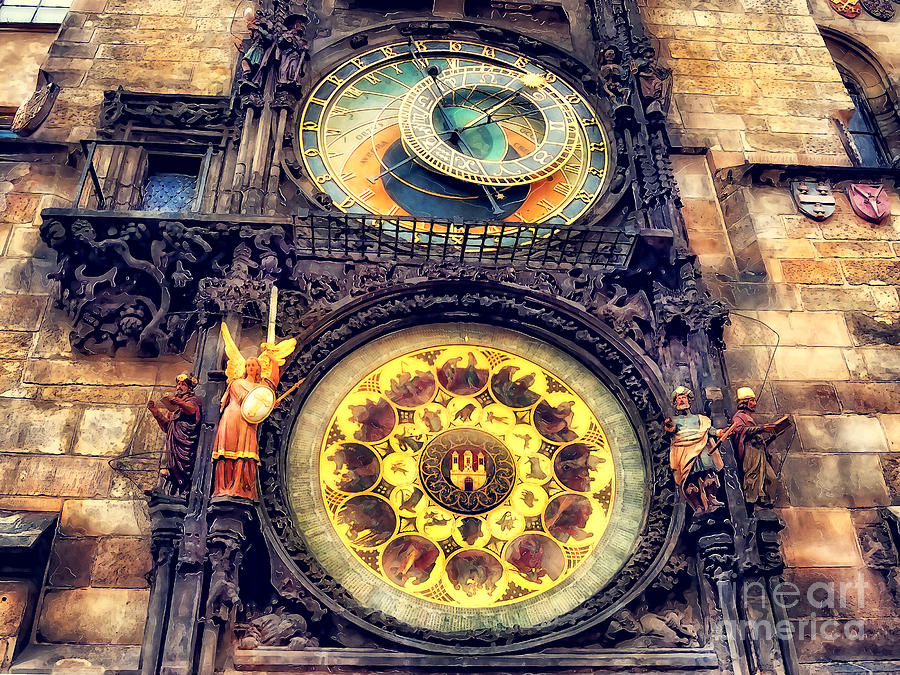 Praha Painting - Prague Clock Orloj watercolor by Justyna Jaszke JBJart