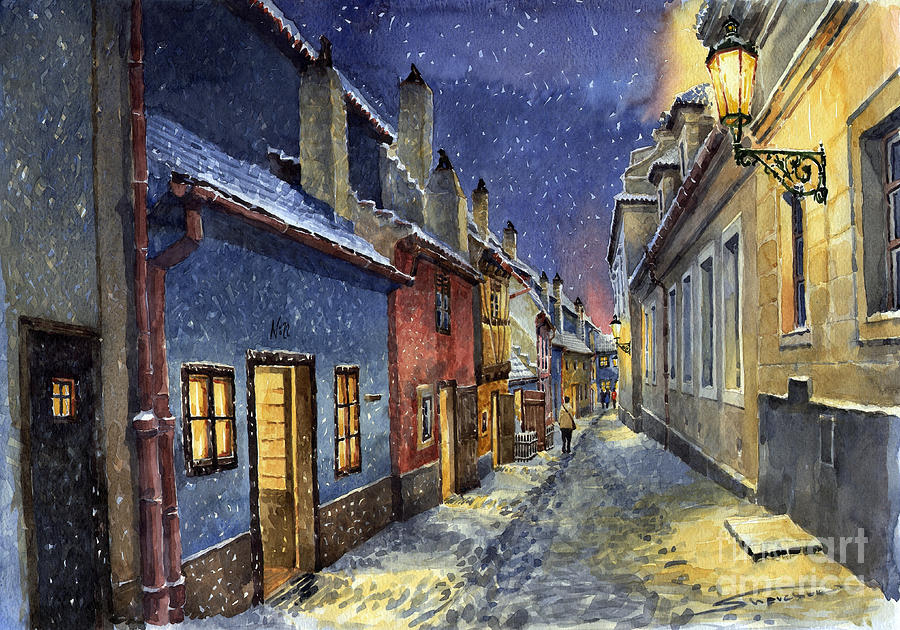 Goldenline Painting - Prague Golden Line Winter by Yuriy  Shevchuk