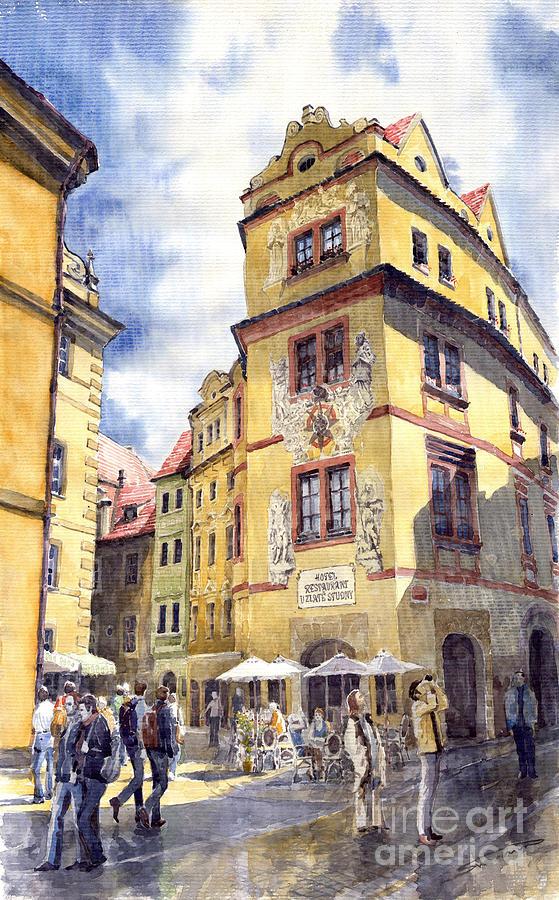 Architecture Painting - Prague Karlova Street Hotel U Zlate Studny by Yuriy Shevchuk