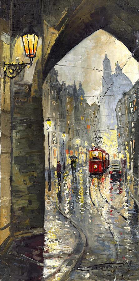 Prague Painting - Prague Mostecka Street by Yuriy  Shevchuk