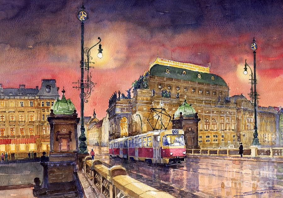 Bridge Painting - Prague  Night Tram National Theatre by Yuriy Shevchuk