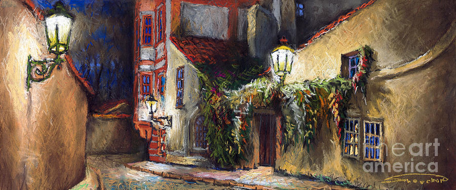 Prague Painting - Prague Novy Svet Kapucinska str by Yuriy Shevchuk