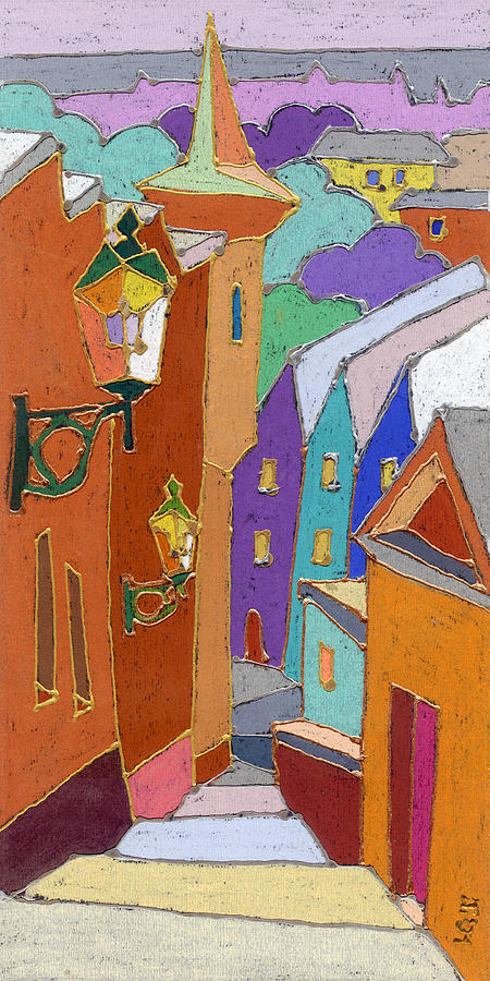 Pastel Painting - Prague Old Steps Winter by Yuriy  Shevchuk