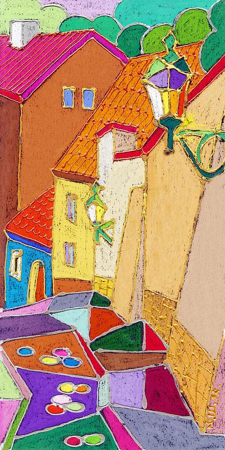 Pastel Painting - Prague Old Street Ceminska Novy Svet by Yuriy Shevchuk