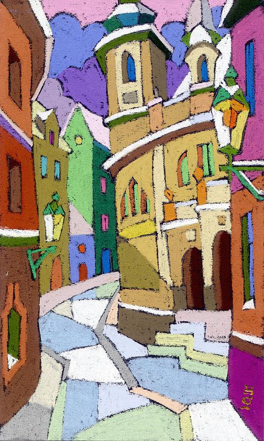Pastel Painting - Prague Old Street Karlova Winter by Yuriy Shevchuk