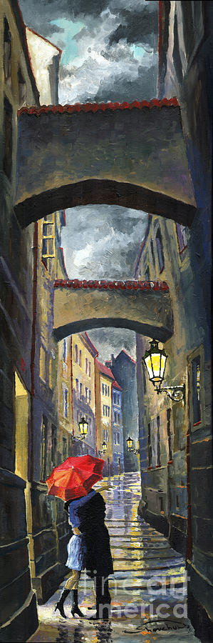 Oil Painting - Prague Old Street Love Story by Yuriy Shevchuk