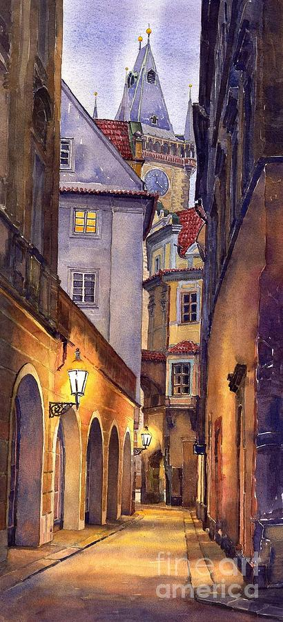 Cityscape Painting - Prague Old Street  by Yuriy Shevchuk