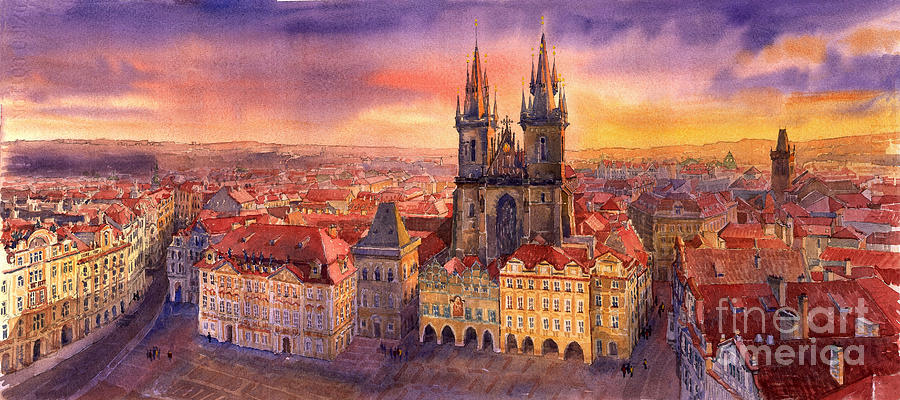 Watercolour Painting - Prague Old Town Square 02 by Yuriy  Shevchuk