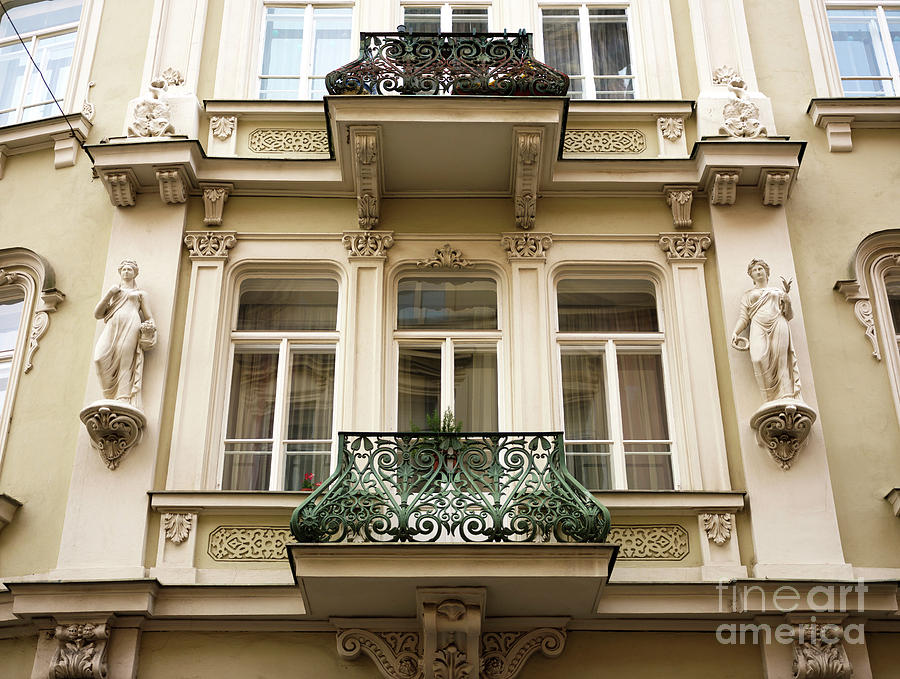 Balcony Photograph - Prague Old Town Square Balcony Style by John Rizzuto