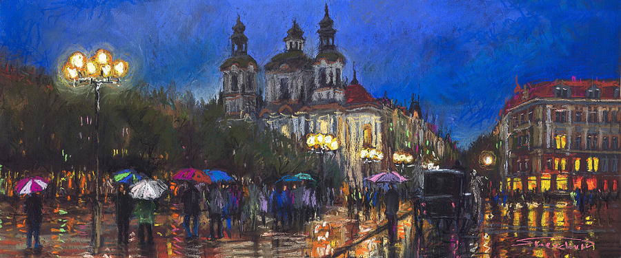 Prague Pastel - Prague Old Town Square St Nikolas Ch by Yuriy Shevchuk