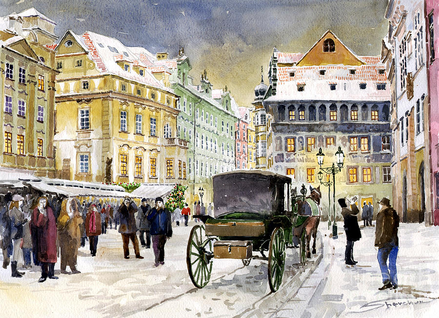 Watercolour Painting - Prague Old Town Square Winter by Yuriy  Shevchuk