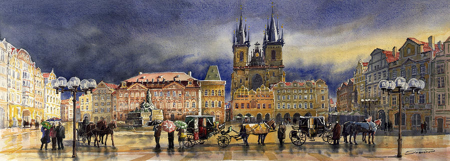 Watercolor Painting - Prague Old Town Squere After rain by Yuriy Shevchuk