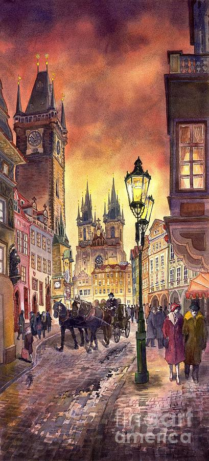 Cityscape Painting - Prague Old Town Squere by Yuriy  Shevchuk