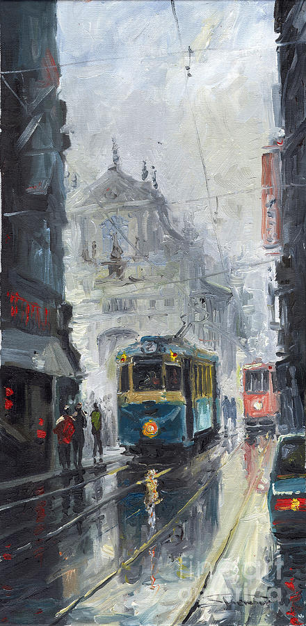 Oil On Canvas Painting - Prague Old Tram 04 by Yuriy Shevchuk