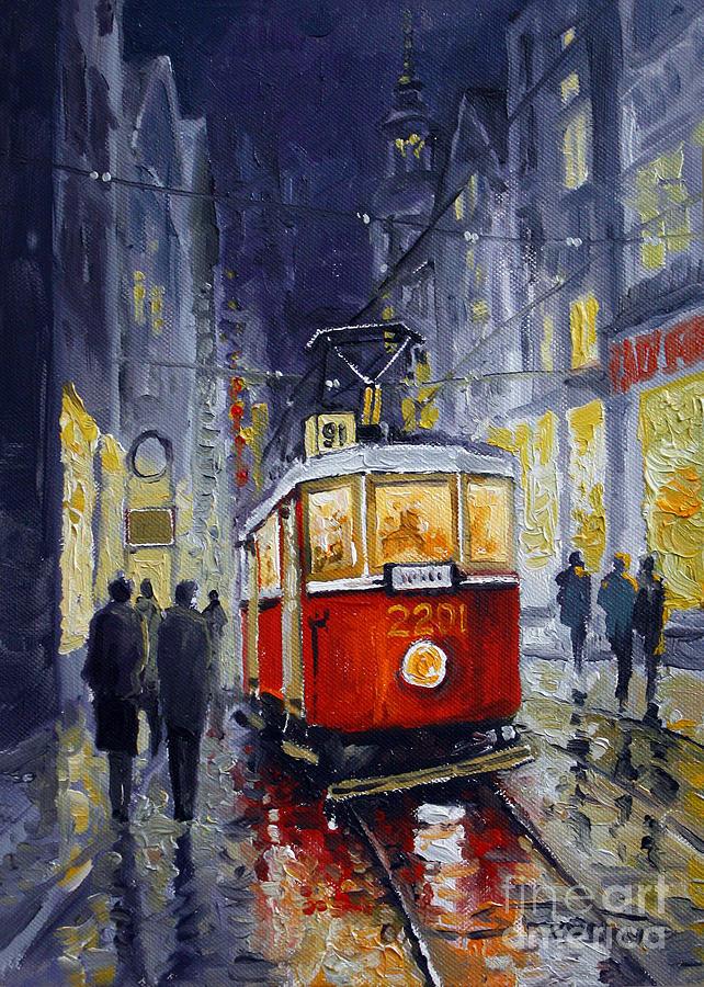 Oil Painting - Prague Old Tram 06 by Yuriy Shevchuk