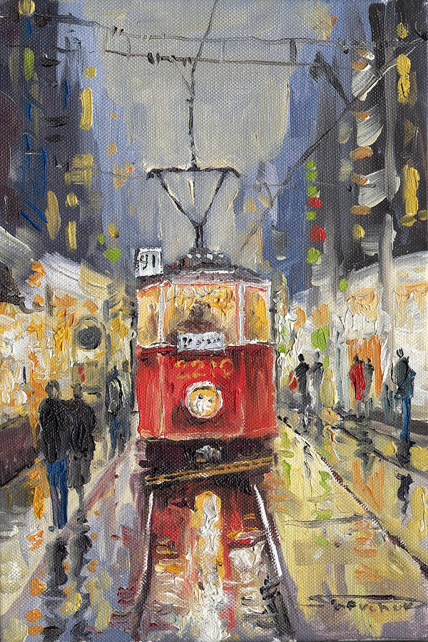 Oil Painting - Prague Old Tram 08 by Yuriy  Shevchuk