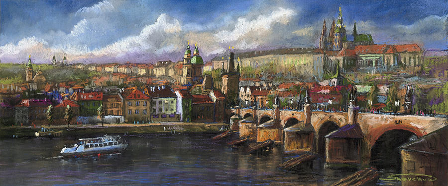Pastel Painting - Prague Panorama Charles Bridge Prague Castle by Yuriy  Shevchuk