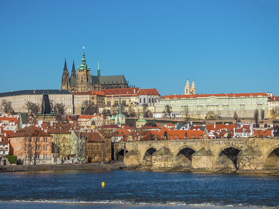Prague Panorama With Vltava River, Czech Republic Photograph